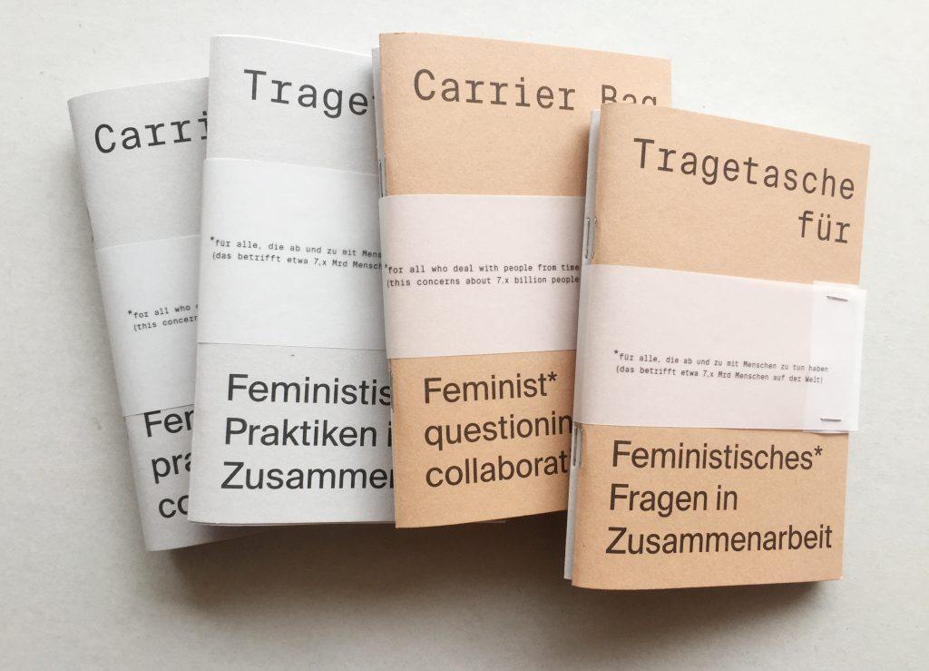 Vier kleine Heftchen, zu feministischen Praktiken und feministischen Fragen in Zusammenarbeit - jeweils in deutsch und englisch.